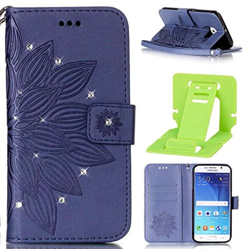 Galaxy S6 Edge Coque Rabat,Housse Samsung Galaxy S6 Edge Bling Bling,Ekakashop Jolie Brun Dreamcatcher Strass étoiles Paillettes Brillant Design Bookstyle Portefeuille à Fermeture Wallet Shell de Prot Bleu Demi-fleur