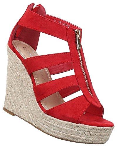 Damen Sandaletten Schuhe Keilabsatz Wedges Plateau Pumps Schwarz Beige Rot Weiss 36 37 38 39 40 41 Rot