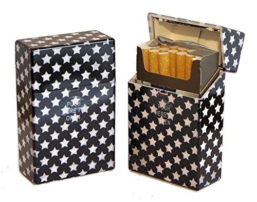 Etui à cigarette, rangement pour paquet 20 cigarettes, porte cigarette homme/femme, boite cigarette design et couleur au choix, housse cigare, Etui cigare plastique (Black&White 1)