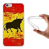 Funda iPhone 6 6S, WoowCase [ iPhone 6 6S ] Funda Silicona Gel Flexible Bandera España y Toro, Carcasa Case TPU Silicona - Transparente