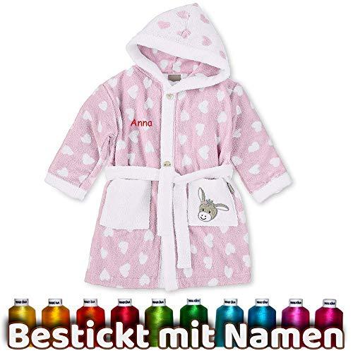 LALALO Sterntaler Bademantel Bestickt mit Namen für Baby & Kinder, 100% Baumwolle, Kinderbademantel personalisiert mit Name (86/92, Emmi Girl Rosa)
