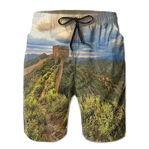 jiger Mens Beach Shorts Swim Trunks,Exquisite Skyline On Classical Old Castle Wonder of The World Themed Green Blue,Summer Cool Quick Dry Board Shorts Bathing SuitXXL - Wonder Wash Mini