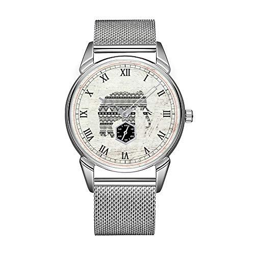 Mode Herrenuhr silbrig Edelstahl wasserdicht Uhr Herren Top-Marke Herrenuhr Uhr Aztec Tribal Elephant schwarz weiß Vintage Holz Armbanduhr
