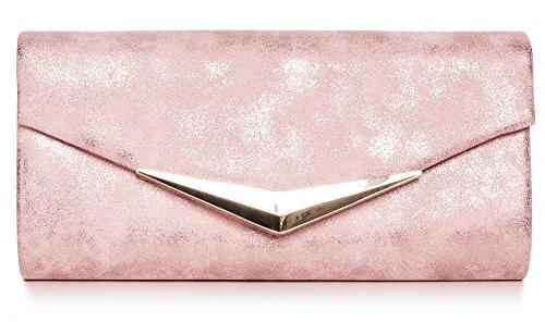 VINCENT PEREZ Damen Clutch Abendtasche Unterarmtaschen Umhängetasche aus Kunstleder Vintage Glitzer-Optik mit abnehmbarer Kette (120 cm) 25 x 12,5 x 4 cm (B x H x T), Farbe:Altrosa (Rosa Und Gold Handtasche)