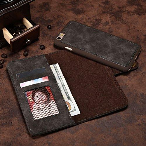 Phone Case & Hülle Für iPhone 6 u. 6s, Retro magnetischer horizontaler Schlag-Leder-Kasten mit Kartenschlitzen u. Mappe u. Foto-Rahmen u. Abnehmbare rückseitige Abdeckung ( Color : Red ) Grey