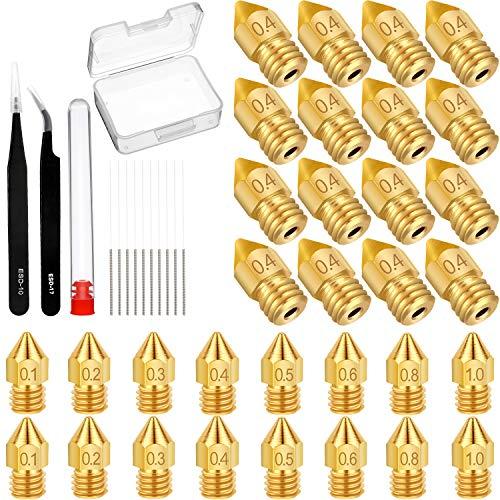 Los Accesorios para Impresora 3D de 42 piezas incluyen Boquillas para Impresora de 30 piezas, agujas de Limpieza de 10 piezas y pinzas de 2 piezas para Suministros de Impresora 3D