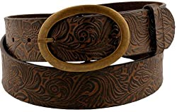 Womens Beautiful Western Style Oval Buckle Belt Brown Large