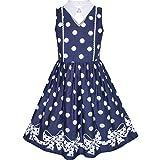 Mädchen Kleid Blau Weiß Polka Punkt Bogen Binden Kragen Schule Uniform Gr. 110