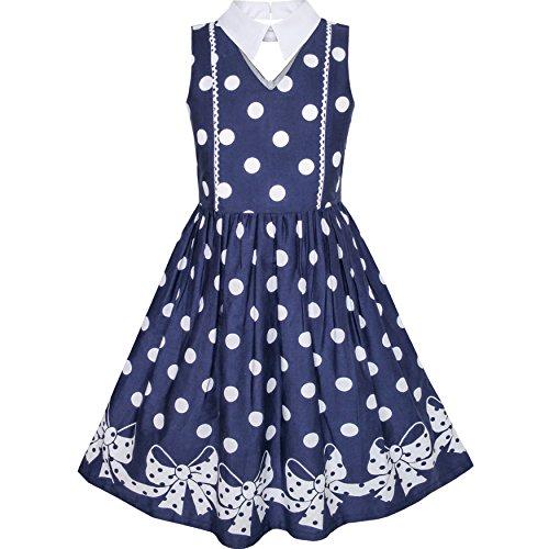 Mädchen Kleid Blau Weiß Polka Punkt Bogen Binden Kragen Schule Uniform Gr. 122 (Uniform Weiße Kleid)