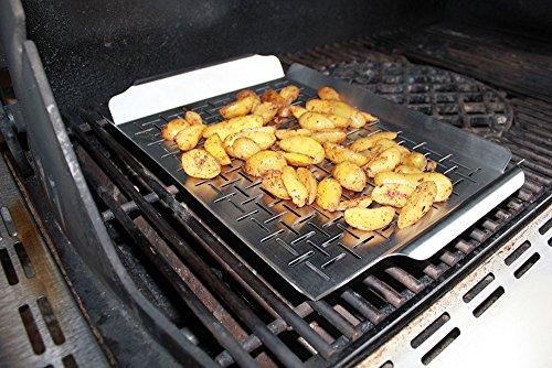 santos edelstahl grillschale mit griffen grillpfanne grillkorb mit perforierung als. Black Bedroom Furniture Sets. Home Design Ideas