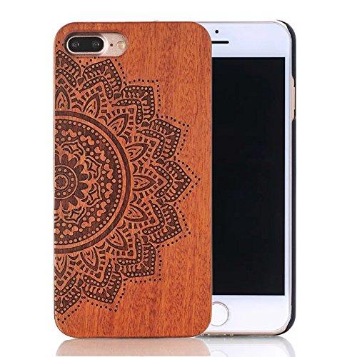 """Coque iPhone 7 Plus 5.5"""", Sunroyal® Coque pour iPhone 7 Plus Bois Véritable + PC Bumper Dur Hard Housse Etui Hybride en Bois Naturel Sculpté Wood Case Cover de Protection pour Apple iPhone 7 Plus 5.5  Bois-02"""