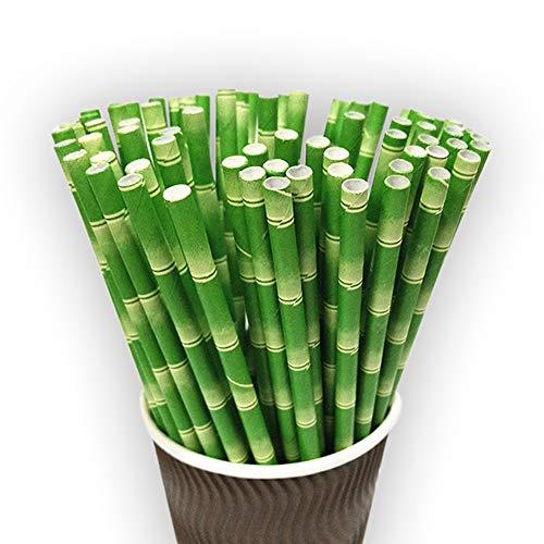 EDHVODI Trinkhalm FDA LFGB FSC Papier Strohhalme biologisch abbaubar 200Pcs Stroh, Bambusmuster