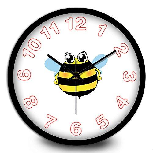 (FortuneVin Wanduhren Dekoration fürs Wohnzimmer Wanduhren Kinderzimmer Küchenuhr Wanduhren Bienen Sind Kleine Kinder elektronische Quarz Wanduhr 12, Ch024 Metall Black-Black Box)