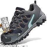 ASHION Stahlkappe Sicherheitsschuhe Herren, Industrie Handwerk Schuhe Atmungsaktiv Leichte Reflektierende Arbeitsschuhe(A-Grau,45 EU)