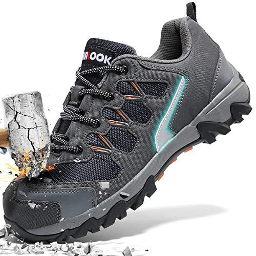 ASHION Stahlkappe Sicherheitsschuhe Herren, Industrie Handwerk Schuhe Atmungsaktiv Leichte Reflektierende Arbeitsschuhe(Grau,42 EU)