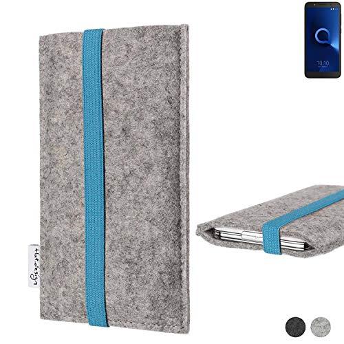 flat.design Handy Hülle Coimbra für Alcatel 1C Single SIM - Schutz Case Tasche Filz Made in Germany hellgrau türkis