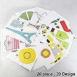 3D Pen Stencils 3D Drucker Stift Papier Stencils/ 20 Seiten Verschiedene Papier Patterns/ New Design Papier Formen für 3D Druck Feder,3D-Zeichnungs Feder und 3D Gekritzel Feder/ 3D-Modellbau Arts & Crafts Zeichnung/ Bunte 3D Druckmuster.