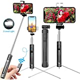 Yarrashop Selfie Stick with Fill Light and Wireless Bluetooth Remote Control, Extendable Selfie Stick With Tripod for iphone Xs Max/Xs/XR/X/8/8plus and Sumsung A9s/S9/note9/S8/S7,etc (Black)