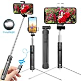 Yarrashop Selfie Stick with Fill Light and Wireless Bluetooth Remote Control, Extendable Selfie