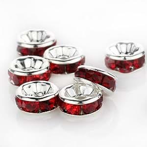 Swarovski Lot de 100 rondelles Cristal Perle Intercalaire Plaqué d'argent 8 mm rouge Ruby501
