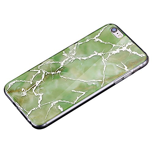 Cover per iPhone 8, CLTPY iPhone 7 Sottile Copertura in Silicone Morbido con Design Marmo Colorato Belle per Apple iPhone 7/8 + 1 x Stilo Libero - Gris Verde Scuro