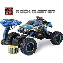 Coche con mando a distancia para niños – Rock Crawler 4x4 RC Car - 1/14 Rock Master Rock Crawler con controlador 2.4Ghz (Azul)
