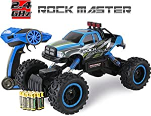 Large Off Road Remote Control Toy Car For Kids - Big Rock Crawler 4x4 RC Car - 32 Centimeters Long Rock Master Rock Crawler with 2.4Ghz Controller (Blue)