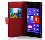 Cadorabo Hülle für Nokia Lumia 925 - Hülle in CHILI ROT – Handyhülle mit Kartenfach aus glattem Kunstleder - Case Cover Schutzhülle Etui Tasche Book Klapp Style