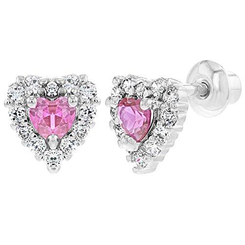 Orecchini Cuore con Cristalli e rosa, XS, a vite placcato al rodio