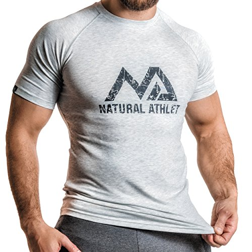 Natural Athlet Fitness T-Shirt Meliert - Herren Männer Kurzarm Shirt Optimal für Fitnessstudio, Gym & Training - Passform Slim-Fit, Rundhals & Tailliert - Sport & Freizeit (Athlet Kurz)