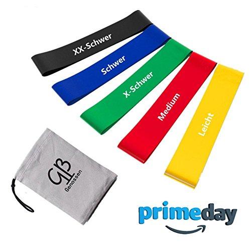 Nike-pc (Fitnessbändern Gymnastikbänder, Loops für Yoga, Pilates, Reha-Sport Physio-Gymnastik, Hergestellt aus natürlichem Latex, 5 pcs)