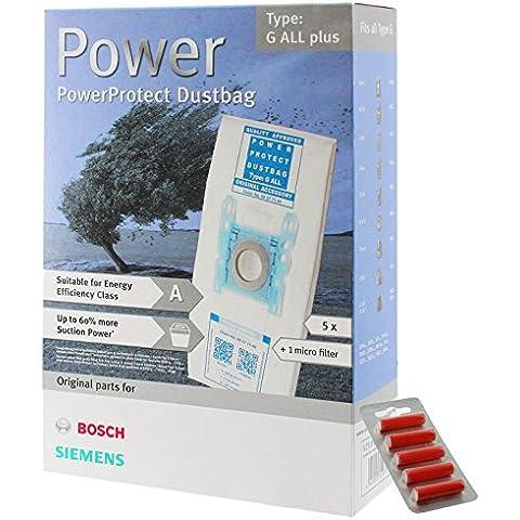 Bosch Tipo G ORIGINAL PowerProtect Gamuza de microfibra Bolsas de aspiradora + Filtro (5unidades +