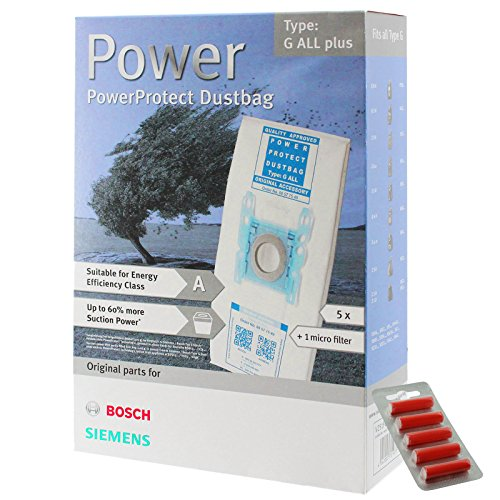 Bosch Typ G Original PowerProtect Microfasertuch Staubsaugerbeutel + Filter (Packung mit 5 Stück+5 Erfrischung) - Pop-filter Ersatz