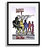 James Bond Dr Kein Film Vintage Retro-Stil Poster Kunstdruck schwarz weiß gerahmte Bild klein groß