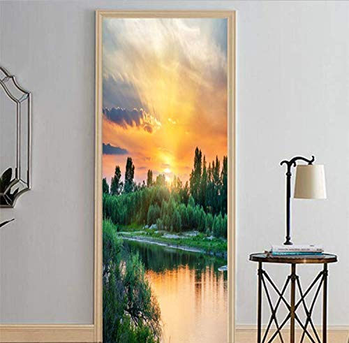 LMTQAZQ 3D Tür Aufkleber Sonnenschein Und See Wandaufkleber Tapetenaufkleber Dekoration 95X215CM