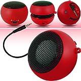 N4U Accessoires - Mini Haut-Parleur portatif - rechargeable - Rouge - Port jack 3.5Mm Incorporé - chargeur USB inclus - Pour LG Optimus Sol E730
