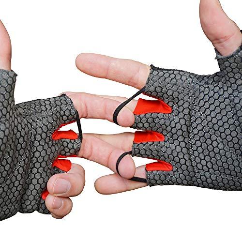 MACCIAVELLI Fitness Handschuhe Trainingshandschuhe Kraftsport (Schwarz | Rot - ohne Handgelenkstütze, M)