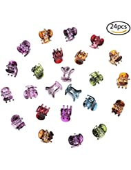 Osun 24pièces de plastique Pinces à cheveux Mini Pinces à cheveux pins Accessoires Cheveux Barrette multicolores Colliers de serrage pour filles et Femmes