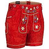 PAULGOS Damen Trachten Lederhose + Träger, Echtes Leder, Kurz in 8 Farben Gr. 34-50 M1, Farbe:Rot, Damen Größe:44