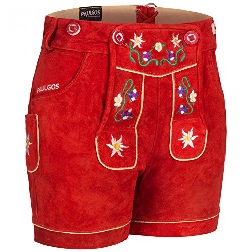 PAULGOS Damen Trachten Lederhose + Träger, Echtes Leder, Kurz in 8 Farben Gr. 34-50 M1, Farbe:Rot, Damen Größe:36