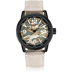 Qingmei NaviForce Men Military Analog Quartz Date Camouflage Round Dial Canvas Band Watch Grey