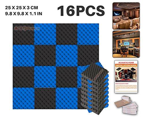 ACE Punch Lot de 16 panneaux acoustiques en mousse, structure alvéolée, 2 couleurs, à monter soi-même, pour isolation phonique de studio, dispositif de fixation gratuit, 25 x 25 x 3 cm AP1052, noir/bleu, 25 x 25 x 3 cm