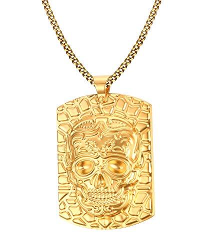 hl 18K Gold überzogen Hund Tag Schädel Halskette Anhänger mit kubanischen Kette 60cm (Machen Sie Ihren Eigenen Rosenkranz)