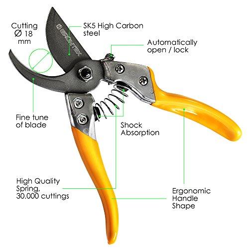 GRÜNTEK Gartenschere PHOENIX 200mm, Automatisch öffnende TEFLON-Klinge 50mm Bypass | Rosenschere | Rebschere | Baumschere Gartenscheren