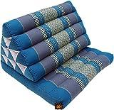 Guru-Shop Cuscino Thailandese, Cuscino Triangolare, Kapok, day bed con 1 Overlay - Turchese/grigio, 30x50x75 cm, Cuscino Thai / pad 1