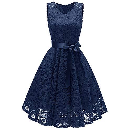 XuxMim Damen Spitze Minikleid Ärmellos Rückenfrei Kurz Kleider Transparent Abend Brautkleid Cocktail (Ebay Frozen Kostüm)