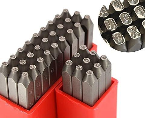 wokesi 3/162,6cm (1mm) hoher Härte Carbon Stahl Großbuchstaben Buchstaben und Zahlen Kugelhammer Hand Punch Metall Stempel Set für Form Juwel Macht sterben