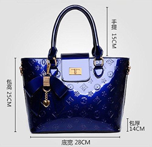 PDFGO Lackleder Tasche Umhängetasche Handtaschen Diamant Ornamente Geprägte Taschen Handtaschen Tote Tasche Handtasche B
