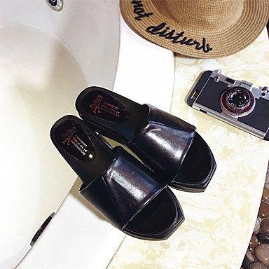 Les femme's Chaussons &AMP; Tong confort Semelle légère tenue décontractée d'été PU Lumière Confort Plante Talon plat noir blanc jaune sous 1EN US6 / EU36 / UK4 / CN36