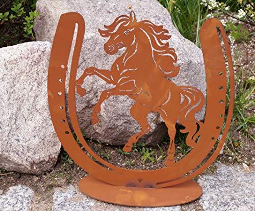 Dekostüberl Rostalgie Edelrost Pferd im Hufeisen 30x28cm, inkl. Herz 8x6cm auf Bodenplatte Gartendekoration Hengst